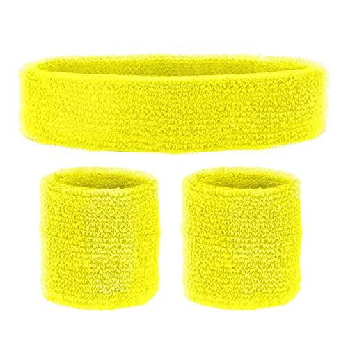 Widmann 05835 - Schweißbänder, 3-teiliges Set, Stirnband und 2 Armbänder, Sport, Accessoires, 80er Jahre, Trainingsanzug, Karneval, Mottoparty