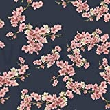 GOTS Sweatshirtstoff mit asiatischen Blumen auf Blau als