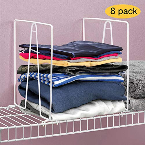 Kosiehouse Shelf Divider for Wire Closets System, Sturdy Metal Shelf Closet Storage and Organizer Separator to Tidy Closet Clothes Bags - Easy Clip - 8 Pack