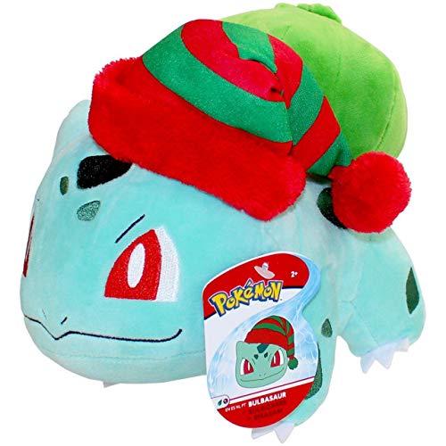 Lively Moments Pokemon Plüschtier Spezial Winter Edition / Kuscheltier Weihnachten / Plüschfigur Bisasam mit Wichtelmütze / Bulbasaur