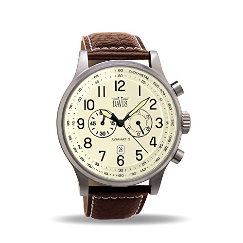 Davis - Herren Fliegeruhr Chronograph Wasserdicht 50M Datum Lederarmband (Beige/Lederarmband Braun)
