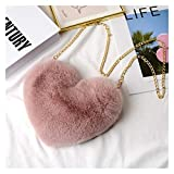 QEEN Bolsas de Crossbody para Mujer Rex Rex Conejo Piel Bolsa de Amor Peach Heart Bag Bolsa de Cadena Moda Hombro Cadena de Cross Bag (Color : Light Brown)