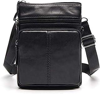 FYXKGLan Men's Business Genuine Leather Bag Large-Capacity Male Handbag Shoulder Bag (Color : Black)