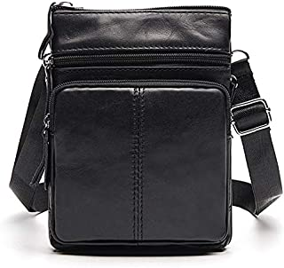 FYXKGLan Men's Business Genuine Leather Bag Large-Capacity Male Handbag Shoulder Bag (Color : Black)