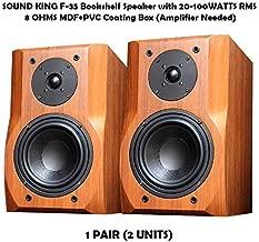 SOUND KING F-35 Bookshelf Speaker with 20-100WATTS RMS 8OHMS MDF+PVC Coating Box (Amplifier Needed)
