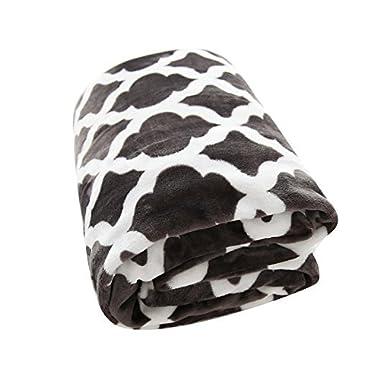 Usual Joy Soft Warm Blanket Picnic Beach Blanket Fleece Blanket Fuzzy Plush Lightweight Throw Couch Bed Blanket Queen Size (Dark Grey, 90 90 )