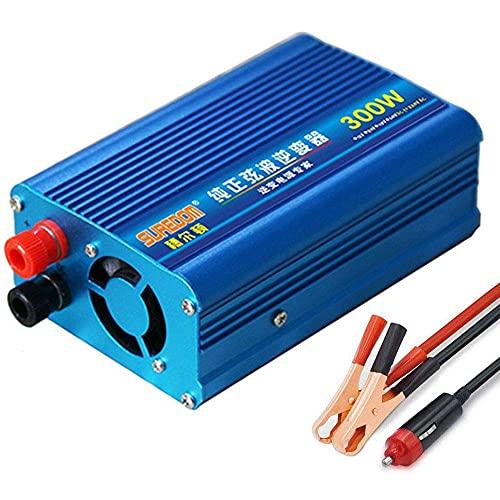 FHISD Inversor de Onda sinusoidal Pura de 300 W, 12 V, 24 V CC a 110 V, 220 V CA, inversor de Corriente con Cargador, Adaptador de Encendedor, convertidor con Salidas