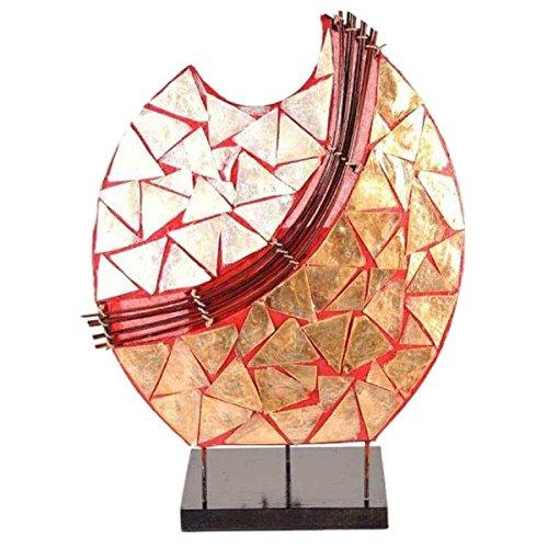 Deko-Leuchte Stimmungsleuchte Stehleuchte Tischleuchte Tischlampe Bali Asia PERLMUTT 36 cm Color Rot