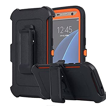 Galaxy S7 Case AICase [Heavy Duty] [Full Body] Tough 4 in 1 Rugged Shockproof Cover with Belt Clip Armor Protective Cover for Samsung Galaxy S7  2016   Black/Orange