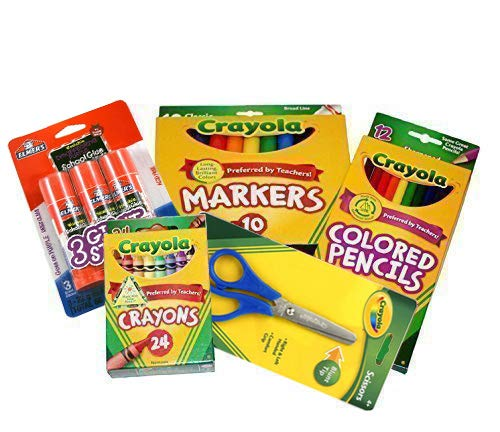 Basic Crayola Back to School Bundle - 5 Items - Crayola Crayons, Crayola Markers, Crayola Colored Pencils, Elmer's Glue Sticks and Child Scissors