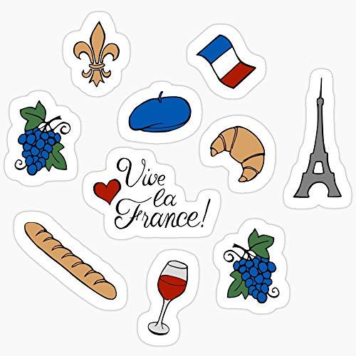 Vinyl Sticker for Cars, Trucks, Water Bottle, Fridge, Laptops Vive la France! Pattern Stickers (3 Pcs/Pack)