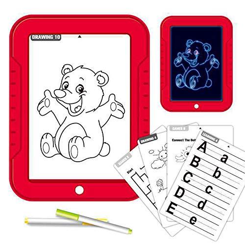 Tableta de Escritura LCD para niños,Juguete de Tablero Tablero de Escritura 3D LED Luminoso Magic Drawing Pad Toys Bloc de Notas de Dibujo borrable,Russian-Red