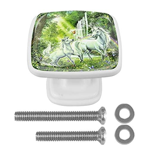 Perillas cuadradas de plástico con diseño lindo de aspecto moderno Unicornio Verde Fantasía Tirador de puerta para armario, cajón, armario, 4 paquetes 3x2.1x2 cm