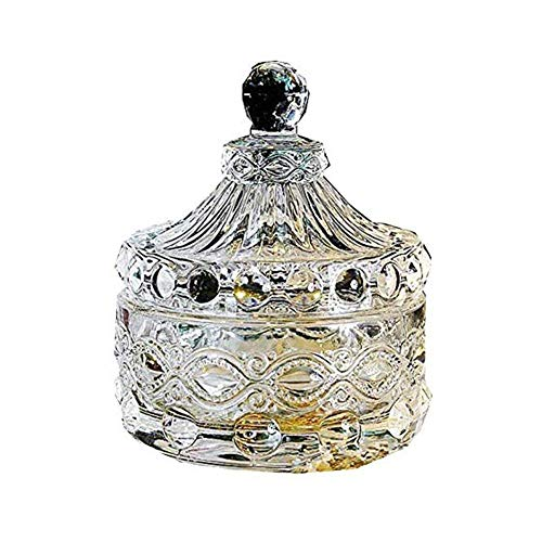 RHJ Crystal Glass Candy Storage Box - Elegant Embossed Colorful Crystal Glass Candy Box with Lid Food Jewelry Box Storage Jar Best Gift for Family Friends