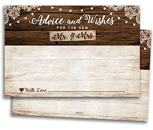 50 Rustic Wedding Advice Cards & Well Wishes for the Bride and Groom - Bridal Shower Games, Wedding Decorations, Rustic Wedding Decorations, Bridal Shower Decorations