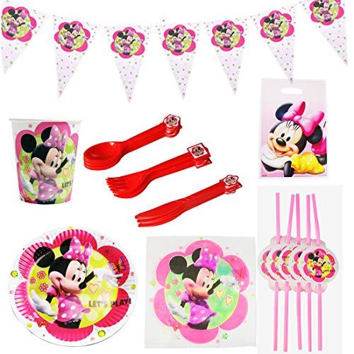 REYOK Set di Articoli per Feste Mickey Mouse e Set di stoviglie 81pezzi per 10 Persone, Kit di Decorazioni di Compleanno per Ragazze - Zigoli di Compleanno, Piatti, Tazze, tovaglioli, cannucce