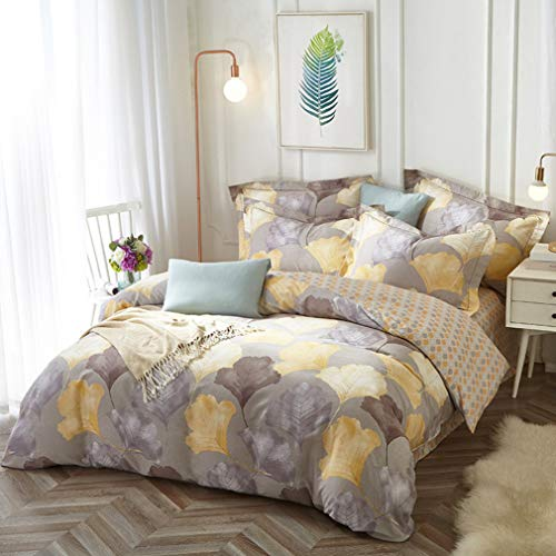 DUIPENGFEI Eco-Brushed And Warm Four-Piece Cotton Full Set, Bedding Duvet Cover, Yellow, King Size Duvet Cover 220 * 240Cm