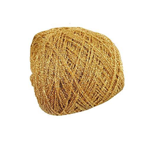 Clisil 860yd Gold Lurex Yarn 3.52oz Shining Yarn Glitter Sparkle Yarn Metal Yarn DIY Fancy Sparkle Yarn Crochet Knitting Sweater Scarf Yarn Accessory Yarn