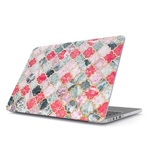 BURGA Hülle Kompatibel Für MacBook Pro 13 Zoll Modell: A2159 / A1989 / A1706 / A1708 Mit Oder Ohne Touch-Bar Rot Mit Gold Marmor Marble Marokkanisch Fliesen Muster Mosaik Plastik Hülle