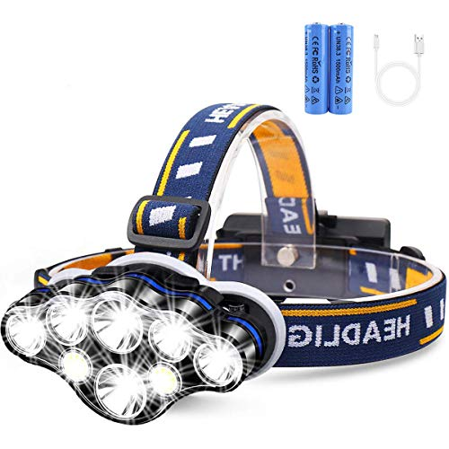 Rechargeable Headlamp, 8 LED 12000 High Lumen Flashlight with 8 Modes Head Lamp for Camping Cycling Outdoor Hunting (1 Pack)