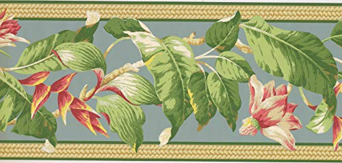 Concord Wallcoverings Retro Tropical Landscape Wallpaper Border Featuring Flowers and Big Leaves on a Baby Blue Background, Colors Blue Green Pink, Size 9 Inches by 15 Feet NG8058B