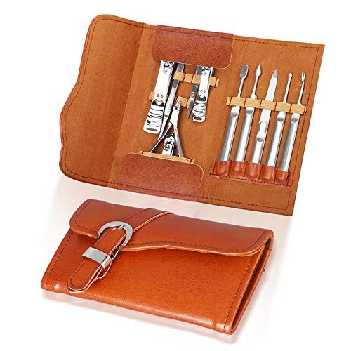 YBwanli Juego de manicura de acero inoxidable, 11 piezas, set de cuidado de uñas, set de cuidado de uñas, cortaúñas, tijeras de cejas, tijeras de vello nasal, con estuche de piel de alta calidad