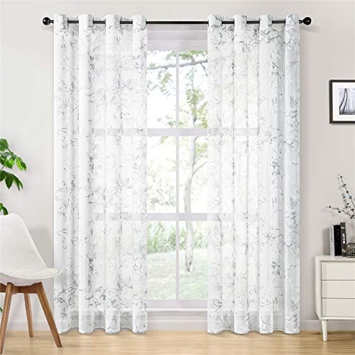 Topfinel Linen Textured Sheer Curtains 84 Inches Long Floral Printed Grommet Window Curtains for Bedroom Living Room, 2 Panels, White