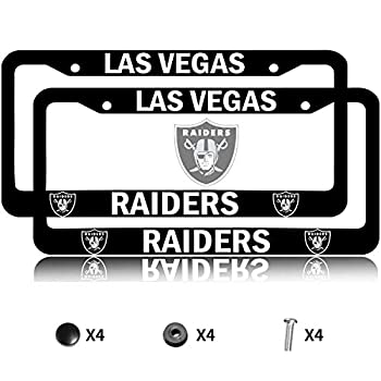 for Raiders License Plate Frames 2pcs/Lot Aluminum Alloy Black Raiders License Plate Holder Universal American Auto for Honda Nissan GMC Je-ep Chev-rolet Ford Benz Toyota Cadillac Lexus