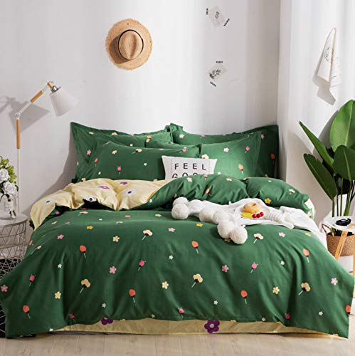 DUIPENGFEI Comfortable Soft Cotton Bedding Duvet Set, Green Crushed Flowers, Double Duvet Set 4 Piece Set, 180 * 220Cm