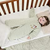 QFYD FDEYL Saco de Dormir para Bebé,Saco de Dormir de algodón con Pierna Dividida, Pijama Acolchado Grueso-Verde_80 Yardas,Saco de Dormir de Punto Felpa