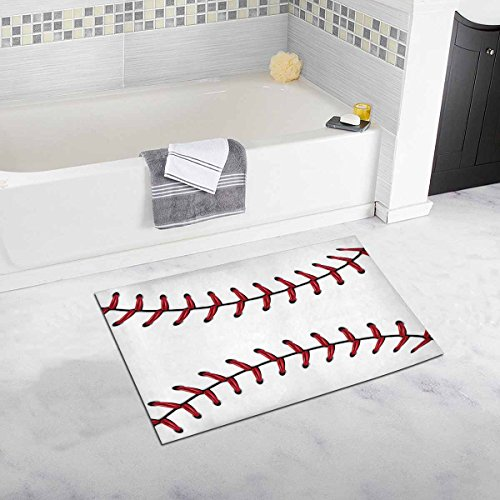 InterestPrint Softball, Baseball Red Lace over White Luxury Microfiber Washable Bath Rug For Floor Bathroom Bedroom Living Room