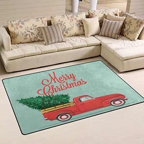 Tapijt, 31 x 20 inch, winter, Vrolijk kerst en goed jaar, auto, rood, met boomtapijt, voor woonkamer, slaapkamer 60x39 Inches Image 4277