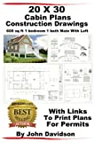 20 x 30 Cabin Plans Blueprints Construction Drawings 600 sq ft 1 bedroom 1 bath Main With Loft