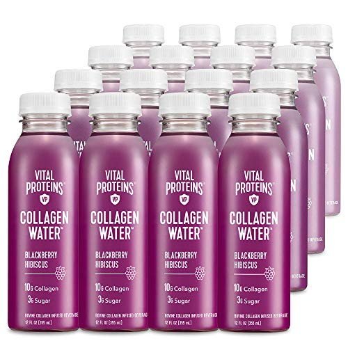 Vital Proteins Collagen Water™, 10g of Collagen per Bottle & Made with Real Fruit Juice, Dairy & Gluten Free - BlackBerry Hibiscus, 16 Pack