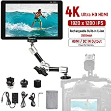 7 inch Camera Video Monitor, Built-in 3500mAh Li-ion Rechargeable Battery HD 1920 x 1200 IPS Screen Ultra HD 4K Pass-Through HDMI DC Input Output Field Monitor with Swivel Arm for DSLR Camcorder