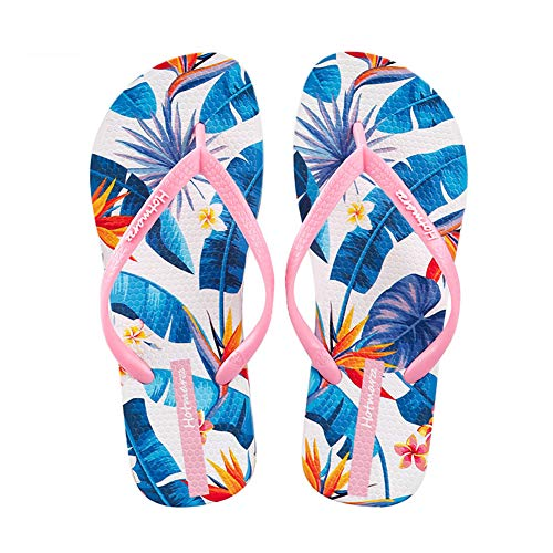 LTLGHY Women's Flip Flop Orthotic Sandals, Printed Beach Lightweight Sandals, Single Strap EVA Footbed Shoes Best for Beach Summer Travelling Holidays and Picnics,Pink,35