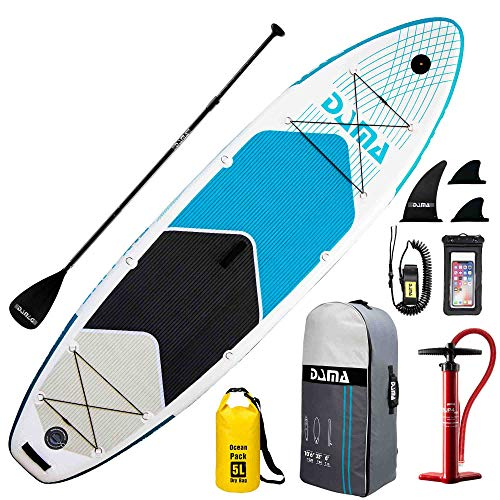 "DAMA Inflatable Paddle Boards Stand Up(10'6""x33""x6""), Reinforced Drop Stitch, Wide Board, Camera Seat, Floating Paddle, Double Action Hand Pump, Board Carrier, Dry Bag, for Beginner, Durabl & Stable"