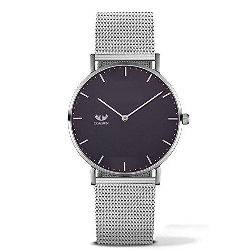Corown | Line one | Black Silver | Herren Uhr Edelstahl | Milanaise-Armband Silber | Schweizer Laufwerk