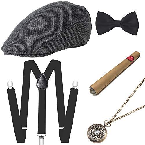 ArtiDeco 1920s Herren Accessoires Mafia Gatsby Kostüm Set inklusive Panama Gangster Hut Verstellbar Elastisch Hosenträger Herren Halsschleife Fliege Taschenuhr und Plastik Zigarre (Set-4)