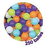 LUDI - Carton de 250 balles multicolores souples en plastique anti-écrasement. A partir de 6 mois. Balles à lancer, faire rouler et pour piscine à balles. Diamètre : 6 cm - réf. 90006