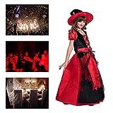 Halloween Ropa para Niños Niñas Negro Rojo Castillo Imprimir Bruja Set Cosplay Juego De Fiesta Mascarada Rendimiento,L