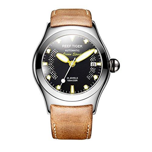 REEF TIGER Herren Uhr analog Automatik mit Leder Armband RGA704-YBBG