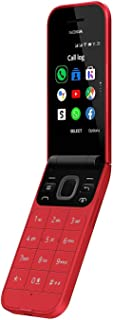 موبايل نوكيا 2720 قابل للطي بشريحتين اتصال، ذاكرة 4 جيجابايت، RAM 512 ميجابايت، 4G LTE، احمر
