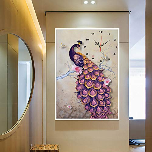 Ptouji Diamond Painting 5D Full Diamond Purple Peacock Clock Wandklok, wanddecoratie, 115 x 180 cm
