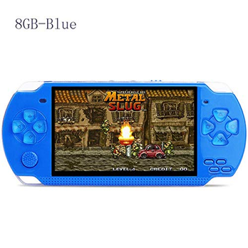YANYING Consola De Videojuego De Mano para PSP Retro Juego 4.3 Pulgadas Pantalla Mp4 Jugador Mp5 Jugador De Juego De Apoyo CáMara, VíDeo, E-Libro X6-Azul 8G