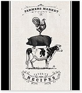 Brownlow Gifts Recipe Binder Set with Plastic Page Protectors and Recipe Cards, Farmers Market