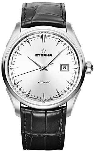 Eterna 1948 Legacy Herren-Armbanduhr 41.5mm Armband Leder Gehäuse Edelstahl Automatik 2951-41-10-1322