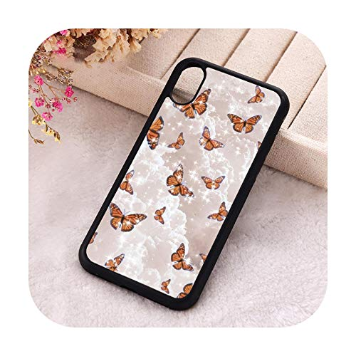 FightLY Carcasa para iPhone 6, 6S, 7, 8 Plus, X, Xs, XR 11, 12, Mini Pro Max 5, 5S SE 2020, silicona TPU estética, mariposas para iPhone 5