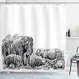 ABAKUHAUS Elefante Tenda da Doccia, Elefanti, Tessuto Set di Decorazioni per Il Bagno con Ganci, per la Vasca da Bagno, 175 cm x 200 cm, Bianco e Nero