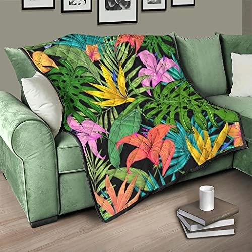 AXGM Colcha para sofá o cama, diseño tropical de hojas verdes y flores, color blanco, 230 x 260 cm